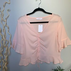 Pink Flowy Ruffle Tie Front Shirt ⚡️